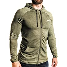 NATURAL ATHLET Jogging Trainings Jacke Herren für Sport Fitness Sommer bequem slim fit tailliert Kapuze leicht Gym anthrazit olive
