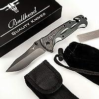 Bullhead Taschenmesser 3-in-1 Klappmesser Set - Extra scharfes Einhandmesser mit Hochwertiger Titaniumklinge - inkl. Diamantschleifstahl, Gürteltasche & Schutzbeutel Outdoormesser I Rettungsmesser