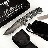 Bullhead Taschenmesser - 3-in-1 Klappmesser Set - Extra scharfes Einhandmesser mit Hochwertiger Titaniumklinge - inkl. Diamantschleifstahl, Gürteltasche & Schutzbeutel Outdoormesser I Rettungsmesser