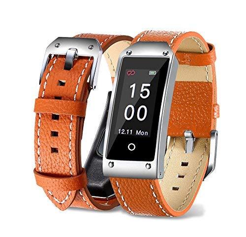 Bluetooth Smart Watch, TechCode Farbbildschirm IP67 Wasserdicht Blutdruck & Herzfrequenz & Schlafüberwachung Armband Armband, Kalorienzähler Schrittzähler Sport Smart Watch für Activity Tracker für Android und IOS (Y2-Orange)