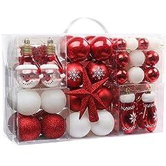 Idea Regalo - Victor's Workshop Palline di Natale 100 Pezzi Palline di Plastica Impostare Ornamento Dell'Albero di Natale per La Decorazione Dell'Albero di Natale Decorazioni per Le Feste di Natale Rosso Bianco