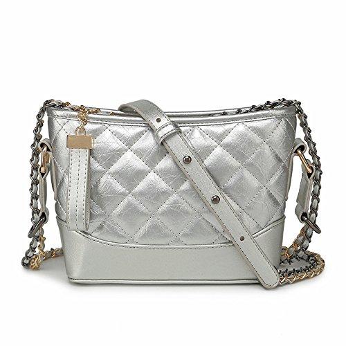 Preisvergleich Produktbild 2018 Mode Damen Designer Tasche Lingge Kette Gesteppt Schultertasche Umhängetasche Tasche Beuteltasche Klassisch Abendtasche, Silver-S