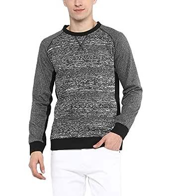 AMERICAN CREW Men's Grey Melange Crew Neck Sweatshirt - M (ACJK105-M)