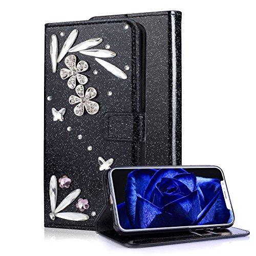 Aearl Coque pour iPhone X XS Clapet Cuir PU Portefeuille Paillettes 3D  Cristal Diamant Fleur 96ab0d43ab9