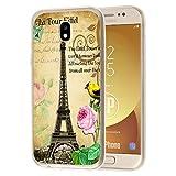 deinPhone Samsung Galaxy J5 (2017) Silikon Case Eiffelturm Rosa Blume