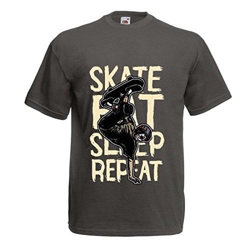 Männer T-Shirt Eat-Sleep-Skate-Repeat Fro Skateboard Liebhaber, Skateboarder Geschenke, Skateboarden Kleidung (Small Graphit Mehrfarben)