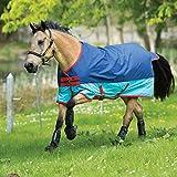 Horseware Mio Turnout Medium 200g - Dark&Aqua Blue/Red