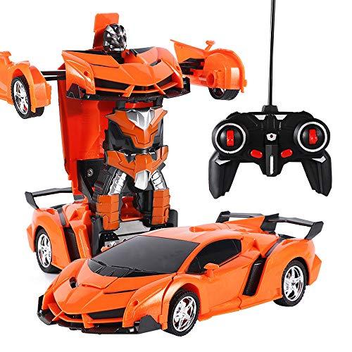 CUEYU Ferngesteuertes Transform Roboter Auto,1: 18 Elektrische Ferngesteuertes Roboter Car Modell Knopf Fernbedienung Verformbaren Transform Roboter (Orange)