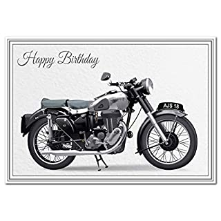 Stunning Birthday Card - Classic Motorbike - Unusual Unique Biker Design - AJS Model 18 - Exclusive Vector Artwork - Iconic and Vintage Motorcycle - Modern Digital Art - Special Cards by Felicitas