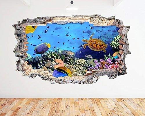 K037Aquarium Fish Ocean Sea Coral Wand Aufkleber 3D Poster Art Aufkleber Vinyl Zimmer (Riesige (100x - Ocean Tank Fish