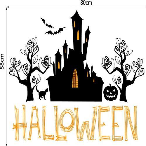 LANHAI Neue Halloween Haunted House kürbis mit PVC austauschbaren Hintergrund wandsticker