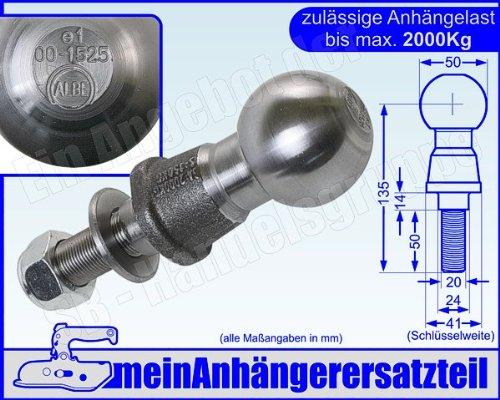 Kugelkopf Kugelkopfbolzen Zugkugel Kupplungskugel 2t 2000kg mit E-Prüfzeichen