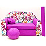 Welox Kindersofa Bettfunktion 3in1 - Kindersessel, Ausziehbett, rosa Schmetterlinge