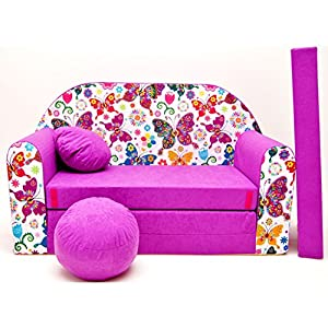 Welox Kindersofa Bettfunktion 3in1 – Kindersessel, Ausziehbett, rosa Schmetterlinge