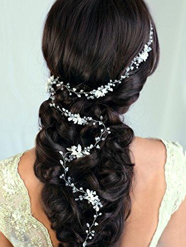 handmadejewelrylady handgefertigt Braut Kristall Strass Blume Haar Vine Frauen Haar Schmuck Hochzeit Tiara Krone Zubehör (Tiara-haar-zubehör)