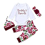 BeautyTop Baby Kleidung Set, 4pcs Neugeborenen Baby Mädchen Solide Strampler Bluse T-Shirt + Floral Bedruckte Hosen Kleidung Set Outfit Newborn Infant Baby Mädchen (0-24 Monate) (Weiß, 0-3Monate)