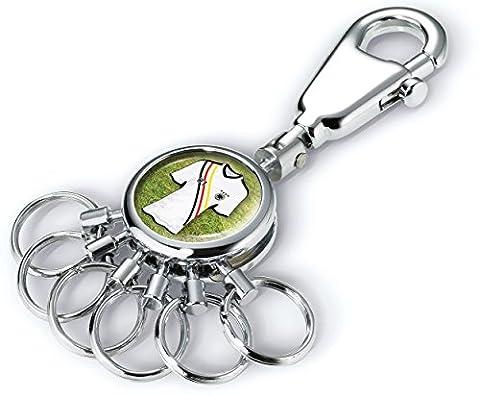 TROIKA PATENT FREE KICK SCHLÜSSELHALTER – #KYR01-A107– rund, glänzend – Schlüsselanhänger - Karabiner – 6 ausklinkbare Ringe - Schlüsselorganisation – für Fußballfreunde - TROIKA-Original