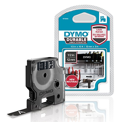 Dymo D1 Hochleistungs-Etikettenband für LabelManager-Etikettendrucker, weiß auf schwarz, 12mm B x 3 m L, 1 Kassette (1978365)