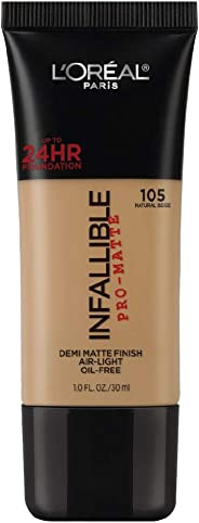 L'Oreal Paris Infallible Pro-Matte Foundation, Natural Beige 105, 30g