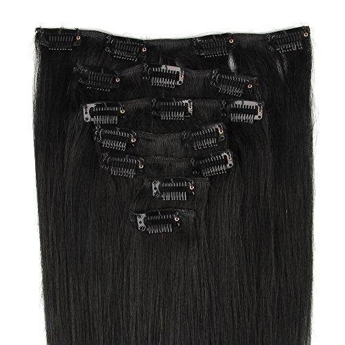 Beauty7 Extensions de cheveux humains à clip 100% Remy Hair 1# Couleur Noir Longueur 50 cm Poids 70 grams