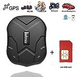 GPS Tracker con scheda SIM, monitoraggio in tempo reale, impermeabile, localizzatore GPS professionale, allarme con allarme per camion, auto, moto, congelatore, barca, con app gratuita (5000 mAh)