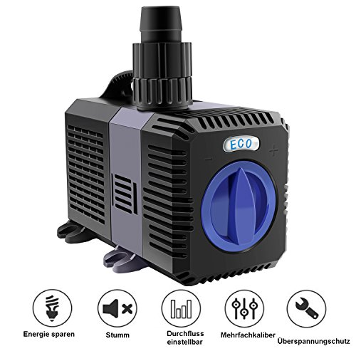 everfarel 3000/3600/4500/L/H ECO Teichpumpe Pumpe Filterpumpen Wasserpumpe für Gartenteiche (7000 L/H)