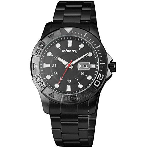 INFANTRY® Herren Analoges Quarzwerk Armbanduhr Datum Outdoor Schwarz Edelstahl Armband