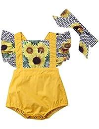 PAOLIAN Conjuntos Ropa para Niñas Recien Nacido Bebe Verano Camisetas  Impresion de Girasol + Falda de Tirantes +… 24c92eeeb950