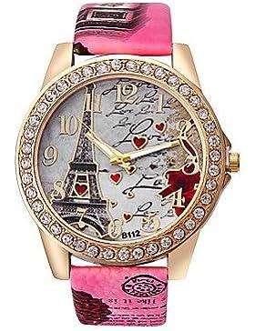 Schöne Uhren, Damen Modeuhr Quartz Imitation Diamant Strass PU Band Heart Shape Eiffelturm Weiß Blau Rot Braun...