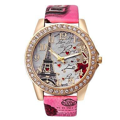 Schöne Uhren, Damen Modeuhr Quartz Imitation Diamant Strass PU Band Heart Shape Eiffelturm Weiß Blau Rot Braun Grau Rose Grau Kaffee Rose Rot Blau ( Farbe : Rot , Großauswahl : Einheitsgröße )