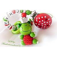 Schnullerkette mit Namen, Frosch, Froschkönig, Krone, Blume, Mädchen, Junge, rot, Taufe, Geschenk