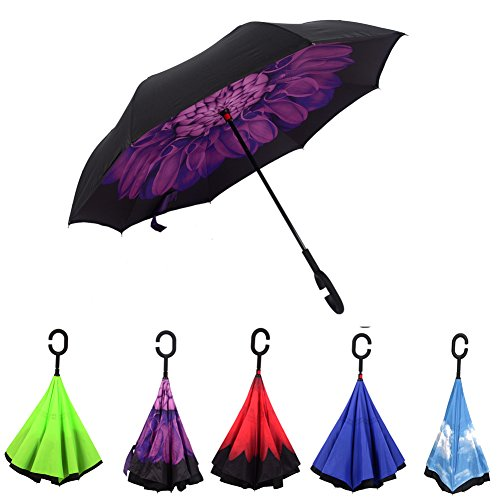 Reversion Regenschirm, Innovative Schirme Double Layer Winddicht Regenschirm Freie Hand Taschenschirm inverted Stockschirme mit C Griff für Reisen und Auto Outdoor di Cloud-Castle (Lila)