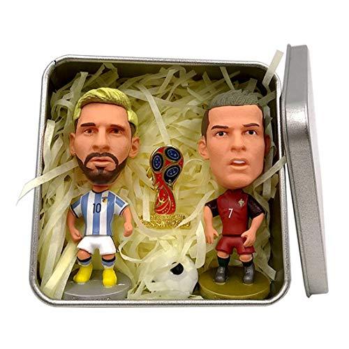 Messi + C Ronaldo Zwei Action-Figuren setzen Blue Red Jersey Mini Soccer Star Statue-Resin Skulptur Home Office Car Decor Figuren für Fans Geschenke -