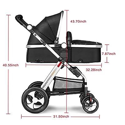 Besrey Silla de Paseo Cochecito para Bebés Baby Jogger Carriage Gris Aprobado prueba de seguridad EN1888: 2012