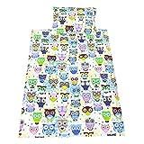 TupTam Kinder Bettwäsche Set 100x135 Baumwolle Gemustert, Farbe: Eulen 2 Blau, Größe: 135x100 cm