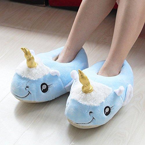 Rainbow Fox Fantasy Unicorn Soft Plush Slippers Slip On Adult Compatible With European Size: 37-42 blau-Flügel