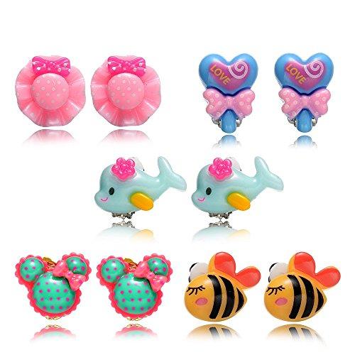 Princess Clip auf Ohrringe Set für Kinder kleine Mädchen (5 Paar clip ohrringe für Mädchen) (Paare Nette Halloween-kostüme)