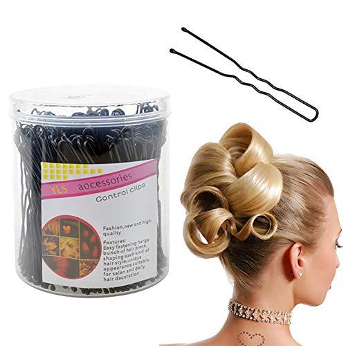 200 Stücke Haarnadeln Uförmigen Haarspangen Mit Aufbewahrungsbox Brötchen Haarnadel Metall Haar Styling Zubehör Für Mädchen Und Frauen Schwarz (6 CM / 2,36 Zoll) (Reise-lockenstab Halter)