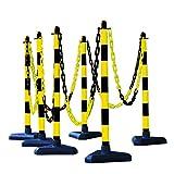 MORAVIA Kettenständer-Set aus Kunststoff mit betongefülltem Kunststofffuß, schwarz/gelb, 175.13.735