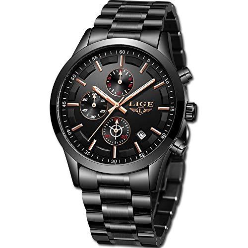 Lige orologio uomo militari sport impermeabile acciaio inossidabile uomo orologi vestito da affari con data analogico al quarzo nero classico orologio da polso