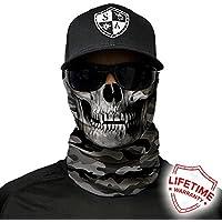 Grey Military Camo Skull Design. SA Company Face Shield/Loop Scarf/Bandana/Balaclava. Multi-Functional Headwear/Scarf. SPF 40 (Fishing, Running, Cycling, Motorbike, Walking, Riding etc)