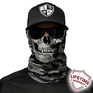 51rc39j0SUL. SS300  - Grey Military Camo Skull Design. SA Company Face Shield/Loop Scarf/Bandana/Balaclava. Multi-Functional Headwear/Scarf. SPF 40 (Fishing, Running, Cycling, Motorbike, Walking, Riding etc)