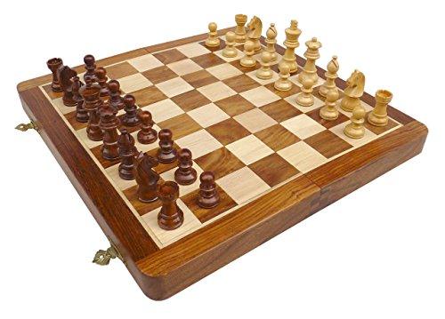 Preisvergleich Produktbild SchachQueen - Holzkassette Schach Reiseschach magnetisch in 2 Größen handgefertigt (FG 32mm - KH 60mm)