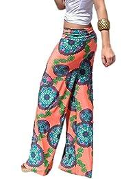 Bigood Pantalon Imprimé Femme Large Jambe Lâche Danse Sport Yoga Plage f111a517124f