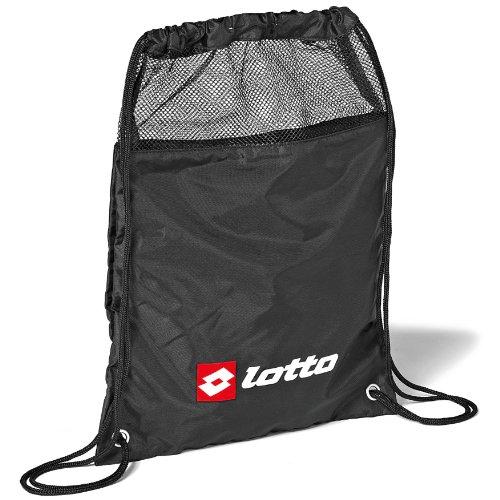 Lotto - Mochila saco o de cuerdas para ropa mojada o húmeda Modelo Football A Wetkit Sports Deporte/Gimnasio/Fútbol (43cm x 32cm) (Talla Única/Negro / Blanco / Rojo)