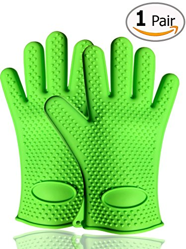 KingstonS silicona resistencia al calor guantes de horno y barbacoa guantes de horno de microondas para cocinar y hornear