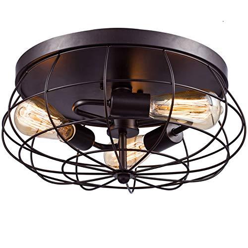 JIZITU LED Vintage-Deckenleuchte,Industrie 3 Lampe Käfig Ventilator Leuchter Semi-Flush Montieren Eisen Geschmiedet Lampenschirm 15,7