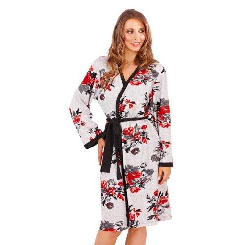 Lora Dora Womens Nightwear Short Bath Robe or Onesie or Pjs Grey Marl Floral Ladies Size UK 6-16