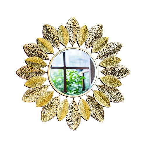 XIUXIU Espejo Sala de Estar Decorativo Espejo Colgante de Pared Simple Sol Espejo de Vestir Dorado Hierro Forjado Espejo de Maquillaje Redondo