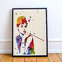 "Lámina para enmarcar ""Audrey Hepburn"". Nacnic. Laminas decorativas para pared. Laminas estilo acuarela. Regalo creativo para chica. Papel 250 gramos alta calidad"
